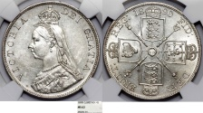 """World Coins - Great Britain. Queen Victoria (1837-1901) AR """"Jubilee type"""" 2 Florin (4s) 1890. NGC MS62, Beauty!"""