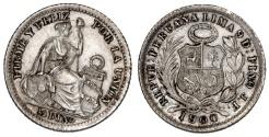 World Coins - Peru. AR 1/2 Dinero 1900JF. AU+