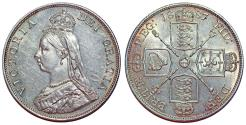 "World Coins - Great Britain. Queen Victoria (1837-1901) AR ""Jubilee"" 2 Florins 1887. UNC"