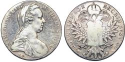 World Coins - Austria. Tyrol. Maria Theresia (1740-1780.) AR Taler 1780 SF. Famous Coin. Original Strike. Fine