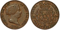 World Coins - Spain. Isabell II. AE 25 Centimos 1861. Toned , XF details