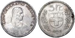 World Coins - Switzerland. AR 5 Francs 1923. VF