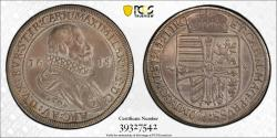 World Coins - H.R.E. Archeduke Maximilian II: Issued as Grand Master of Teutonic Knights. AR Thaler 1615. PCGS AU55