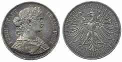 World Coins - Germany. Free city of Frankfurt. AR Double Thaler 1860. Toned Choice XF/AU