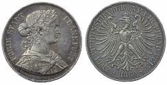 World Coins - Germany. Free city of Frankfurt. AR Double Thaler 1860. Toned Choice XF/AU