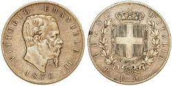 World Coins - Kingdom of Italy. Vittorio Emanuellle II. Very Nice AR 5 Lire 1876 R. Toned VF