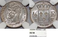 World Coins - FRANCE, Charles X (1824-1830), AR 1/4 Franc 1830 W. NGC AU58, toned