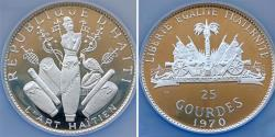 World Coins - Haiti. Silver Commemorative Series 25 Gourdes 1970. NGC PF66 Ultra Cameo.