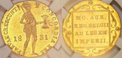 World Coins - Kingdom of Poland under Russia. November Uprising Gold Ducat 1831. NGC MS61!