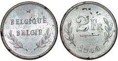 World Coins - Belgium. Kingdom. Leopold III. WWII issue of Zinc 2 Francs 1944. UNC