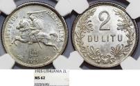 World Coins - Lithuania. Republic. Silver 2 Litu 1925. NGC MS62