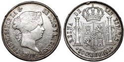 World Coins - Phillippines as Spanish Colony. Isabell II. AR 50 Centavo 1868. Nice Choice VF/XF