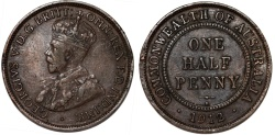 World Coins - Australia as part of Commonwealth. King George V. AE Half Penny 1912. XF.