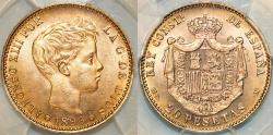 World Coins - Spain. Alfonso XIII (1886-1931). Gold 20 Pesetas 1896 MP-M. PCGS MS66!