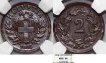 World Coins - Switzerland. Federation issue. AE 2 Rappen 1904 B. NGC MS62 BN, RARE DATE