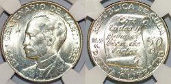 World Coins - Cuba. Republic. Silver 50 Centavos 1953. Centennial of José Marti. NGC MS64