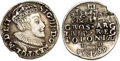 World Coins - Poland. Rzeczypospolita. Olkusz. king Sigismund III. AR 3 Gross 1589, VF, scarce issue