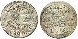 World Coins - Poland. (Livonia) Riga. Sigismund III (1587-1632). Silver 3 Gross - Trojak 1598. Choice. VF+