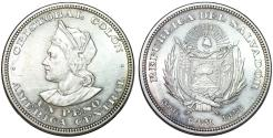 World Coins - Republic of El Salvador. Silver Peso 1914 C.A.M. UNC, lightly toned.