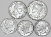 World Coins - Italy: Lot of 5 Coins: WWII Issues. 20 Cents to Lire  1940-1944.  XF/XF+