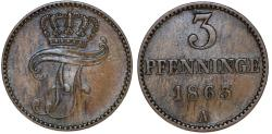 World Coins - Germany: MECKLENBURG-SCHWERIN. Friedrich Franz II (1842-1883) 3 Pfennige 1863 A. Choice XF.