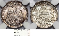 World Coins - Peru. Republic. Silver 1/2 Dinero 1903/803. NGC MS66, toned