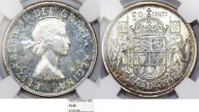 World Coins - Canada. Commonwealth Queen Elizabeth II. Silver 50 Cents 1957. NGC PL65!