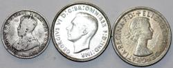 World Coins - Australia. Lot of 3 Silver Coins. 1926-1954. aVF-AU+