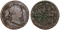 World Coins - Spain. Ferdinand VII. CU 2 Maravedis 1828. About VF
