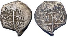 World Coins - PERU: Carlos II, 1665-1700, AR 1  Real (Cob) 1692-L. Fine+/ Fine