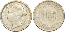 World Coins - Straits Settlements. Victoria. AR 10 Cents 1889. XF