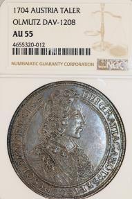 World Coins - Austrian Empire. H.R.E. Olmutz. Karl III. von Lothringen (1695-1711). AR Taler 1704. NGC AU55