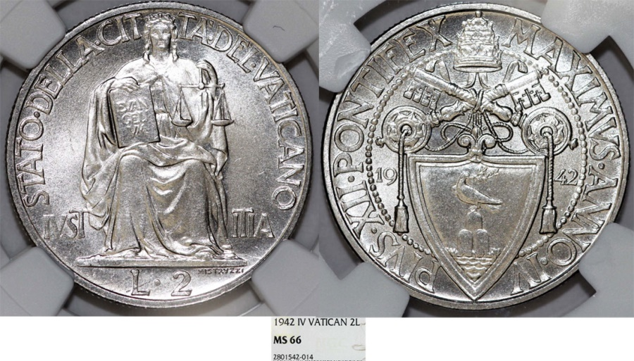 World Coins - Vatican City. Pope Pius XII (1939-1958). 2 Lira 1942 - Justice. NGC MS66.