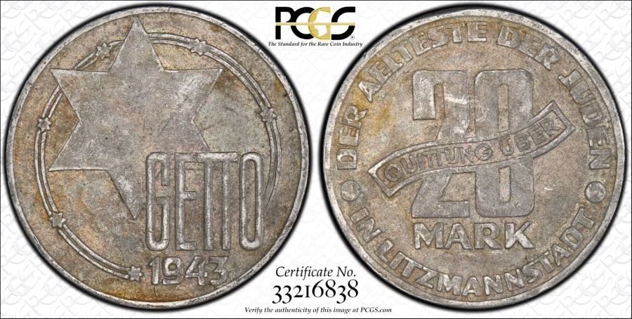 World Coins - Poland. Litzmannstadt (Lodz Ghetto). Al 20 Mark 1943. PCGS XF45, VERY RARE ISSUE,