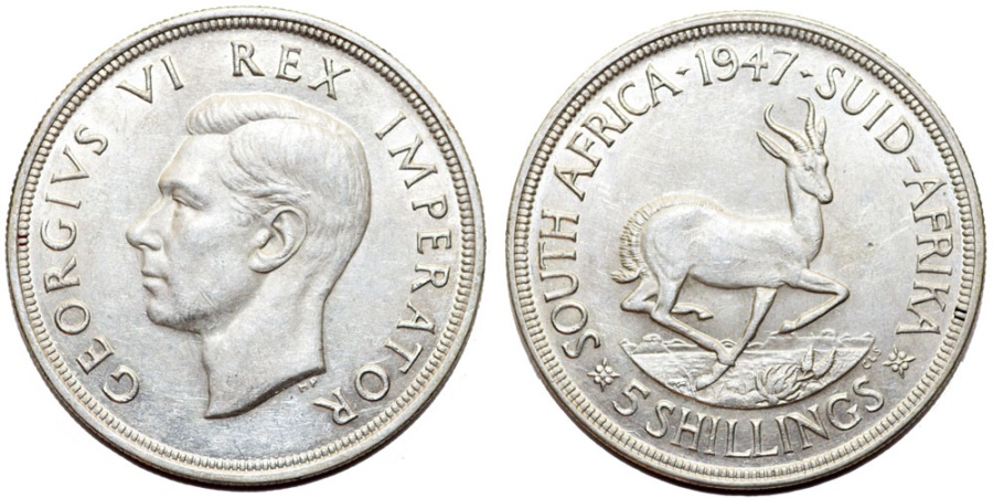 World Coins - South Africa as British Colony. George V. AR 5 Shillings 1947. AU