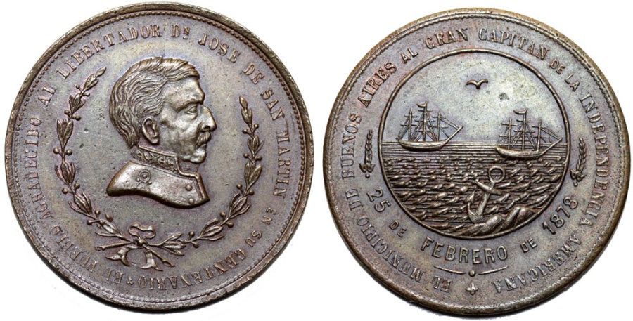 World Coins - Argentina. Bronze Commmorative Medal 1878. 50h. Anniversary of Independence 1878. Choice XF