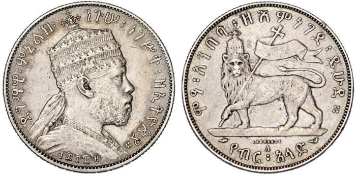 World Coins - Empire of Ethiopia. Mamelik II (1889-1913). Beutiful Silver 1/2 Birr EE1889 A. Choice VF