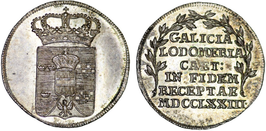 World Coins - GALICIA AND LODOMERIA. Homage Medalette of the New Kingdom Created in the First Partition of Poland 1773. Choice AU