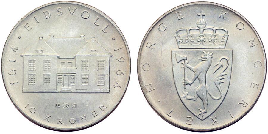 norwegian 10 år Norway. Haakon VII. AR 10 Kroner 1964. Choice UNC norwegian 10 år