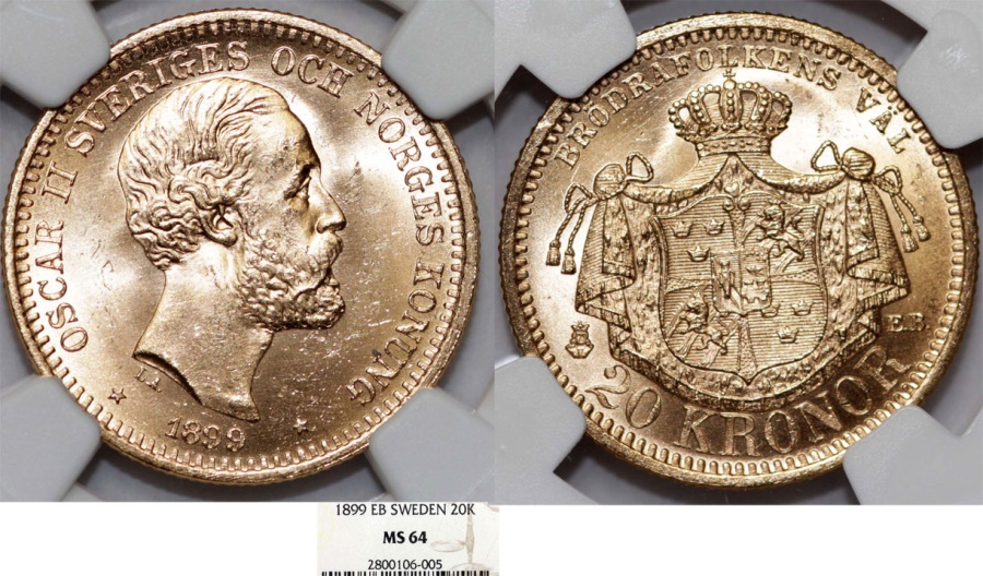 World Coins - Sweden. King Oscar II (1872-1907). Gold 20 Kronor 1899 EB. NGC MS64