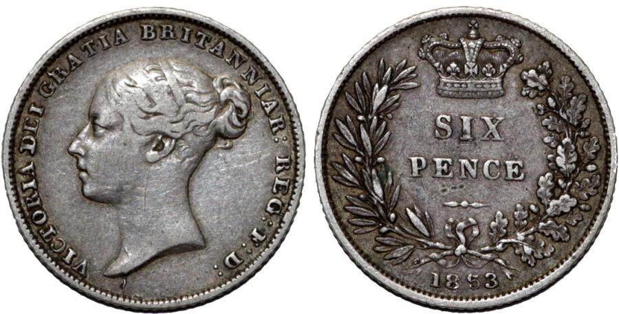 World Coins - Great Britain. Victoria. AR 6 Pence 1853. Choice VF