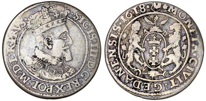 World Coins - Poland. City of Danzig. Sigismund III (1587-1632). Silver 1/4 Taler 1618. aVF