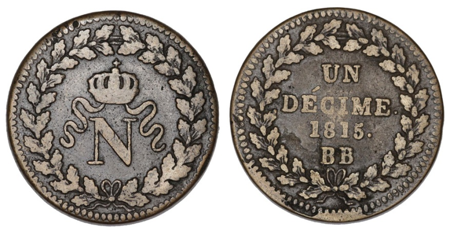 World Coins - France. AE 1 Decime 1815. VF