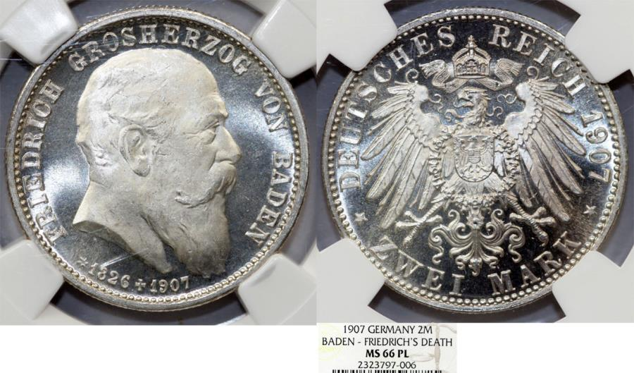 World Coins - Germany. Baden. Friedrich I (1856-1907). Silver Commemorative 2 Mark 1907. NGC MS66 PL