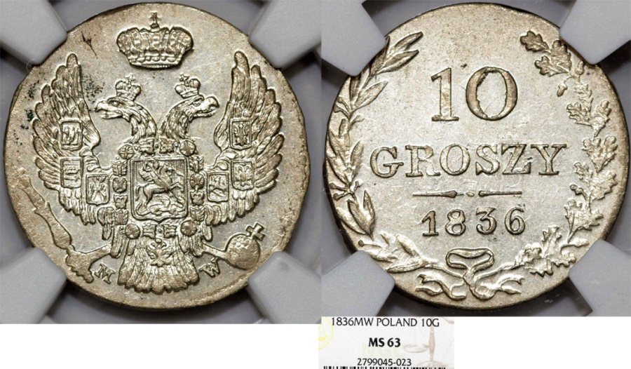World Coins - Imperial Russia. Coinage for Poland. AR 10 Groszy 1836 MW. NGC MS63!