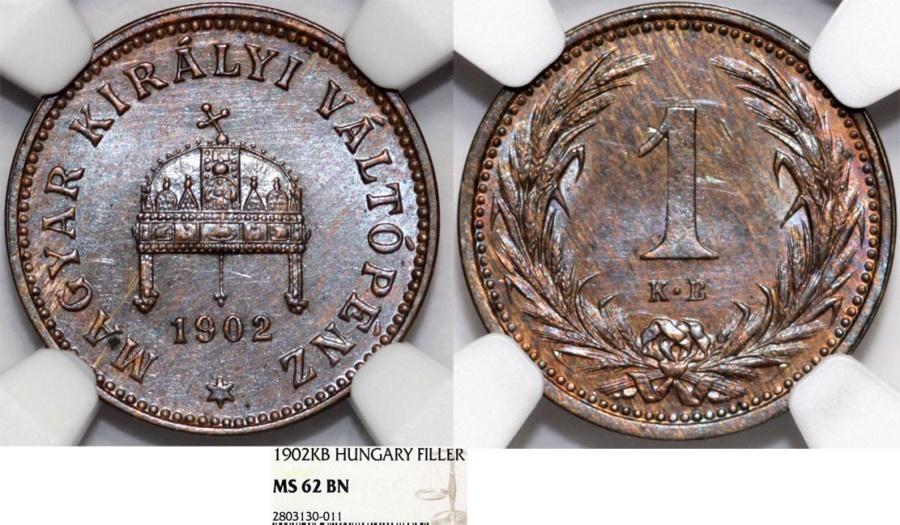 World Coins - Hungary. Franz Joseph I. BRZ 1 Filler 1902. NGC MS62BN.