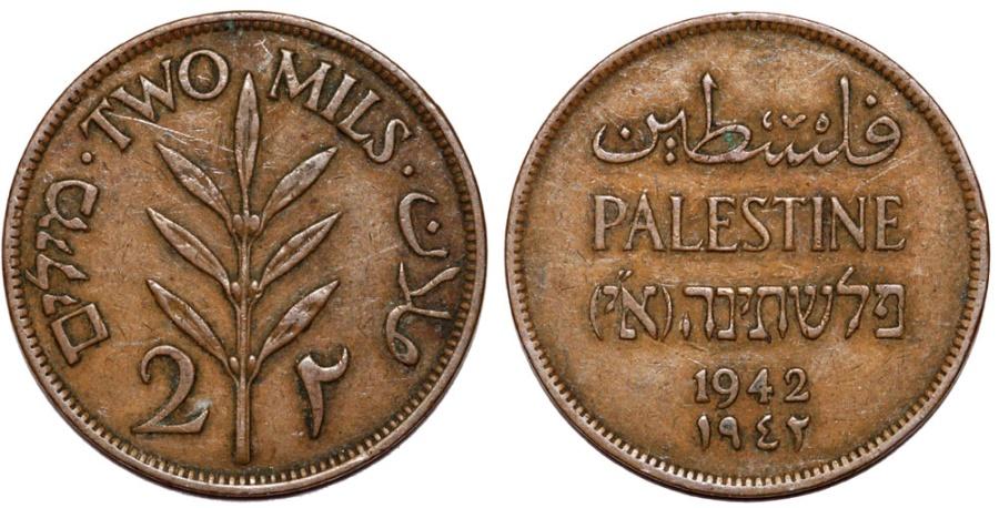 World Coins - British Administration. Palestine. Coper 2 Mils 1942. XF