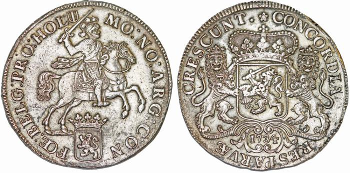 """World Coins - Netherlands. LOW COUNTRIES, Holland. (1581-1795). AR Ducaton """"Silver Rider"""" 1734. Nice Choice VF."""