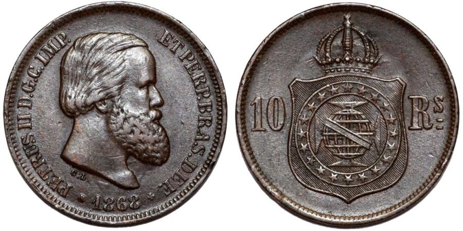 World Coins - Brazil. Pedro II (1831-1889). AE 10 Reis 1868 R. Choice XF, toned