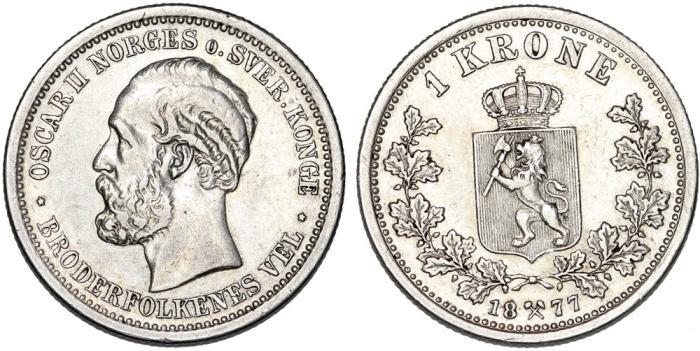 World Coins - Norway under Sweden. Oscar II (1872-1907). AR 1 Krone 1877. XF, RARE